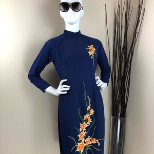 Vintage Blue Embroidered Flowers Cheongsam Dress